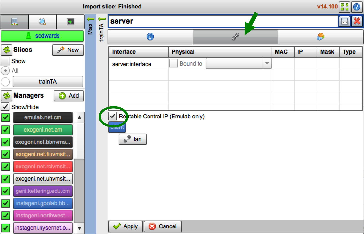 Select the 'Routable Control IP' button