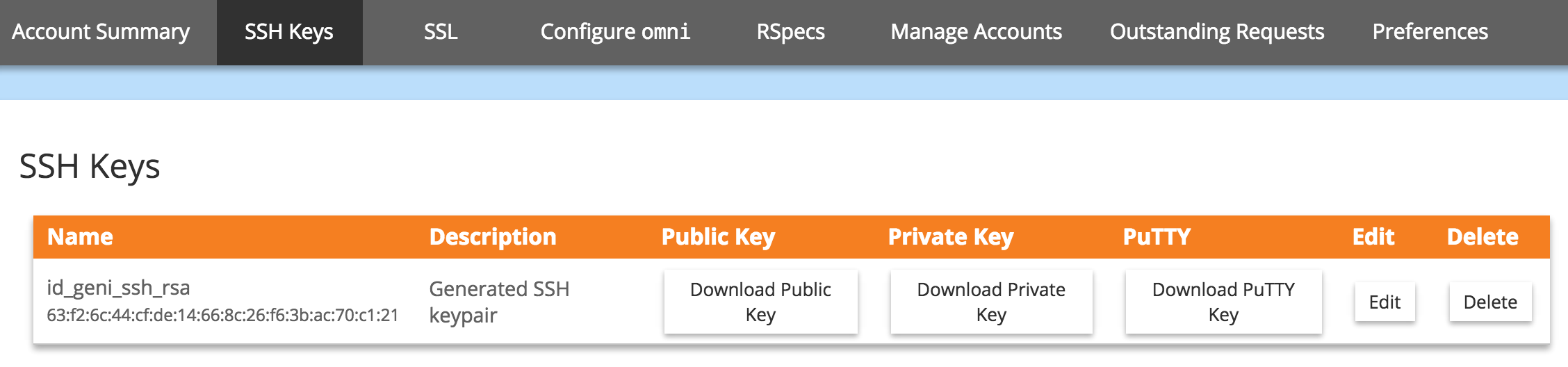 Download an SSH Key Pair