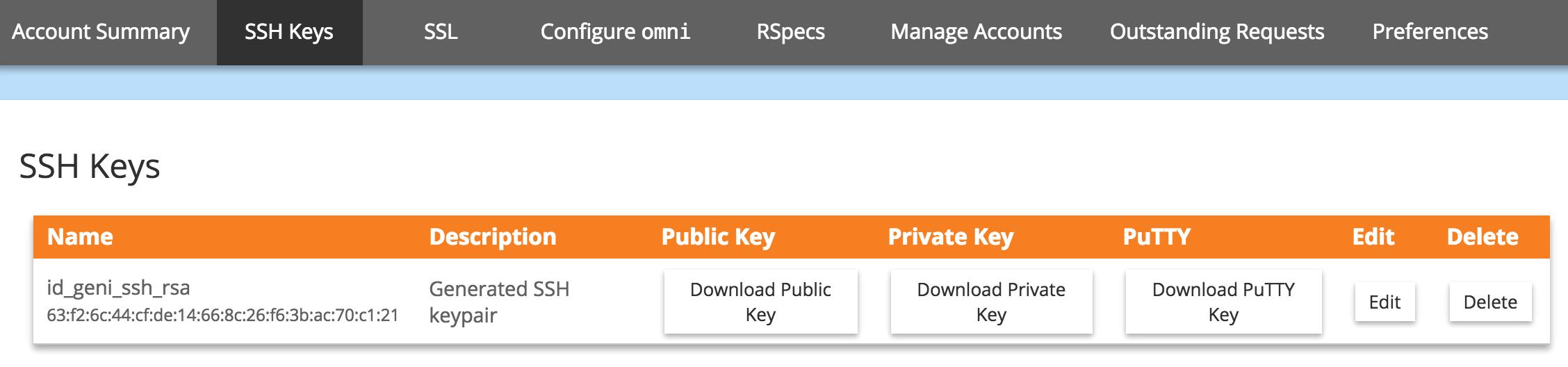 Download an SSH Key Pair