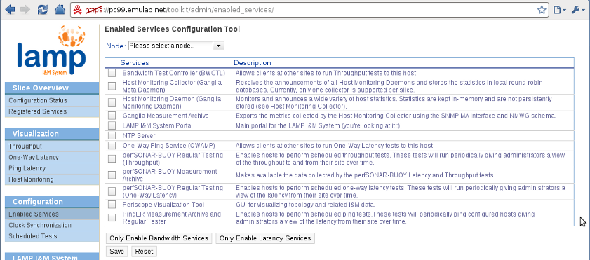 LAMP Portal - Enabled Services configuration page.