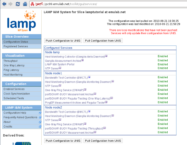LAMP Portal - Overview of configuration after services have been enabled
