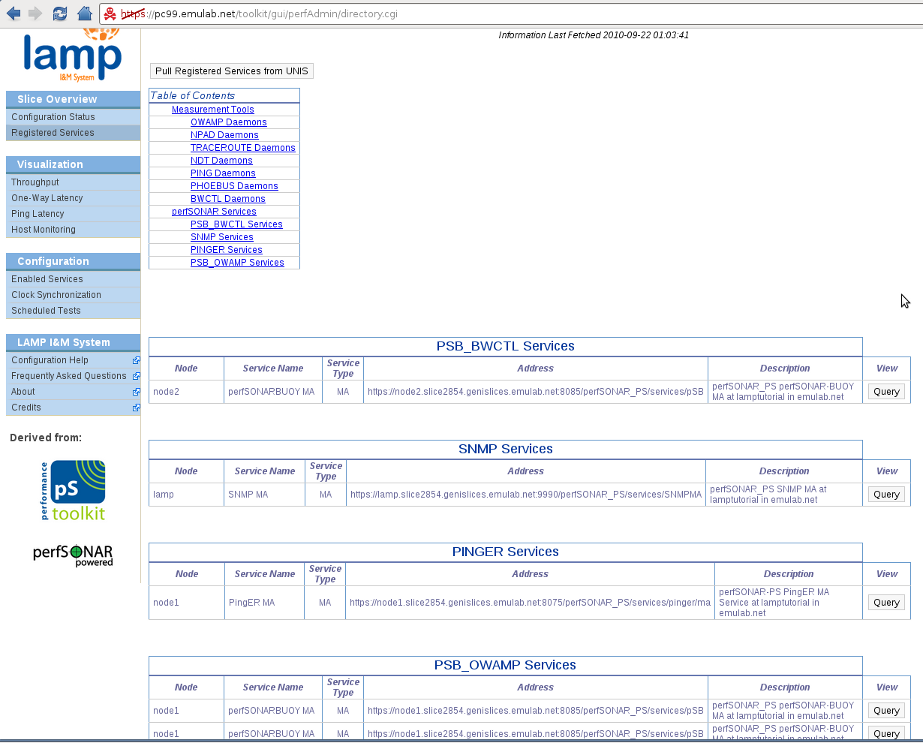 LAMP Portal - Registered Services directory.